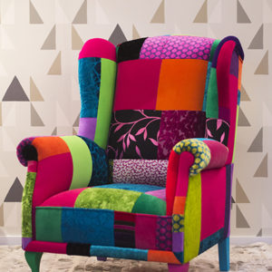 armchairs, juicy colors, furniture, patchwork